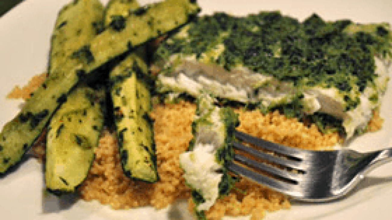 Herb-Coated Halibut with Zucchini and Whole Wheat Couscous